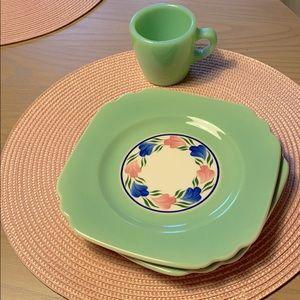 pair of pretty vintage plates